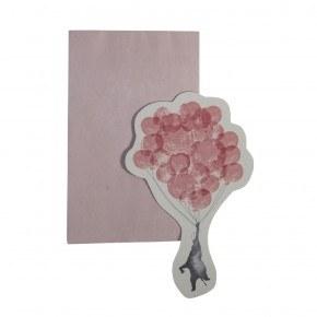 Sebra Kort med kuvert, In the Sky, Elefant - Rose