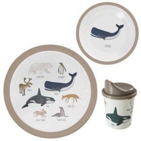 Sebra Melamin spisesæt m. 3 dele - Arktiske dyr