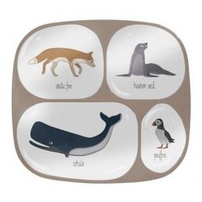 Sebra Melamin tallerken m. 4 rum - Arktiske dyr
