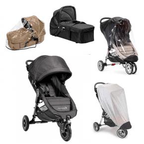 Baby Jogger City Mini GT - Charcoal Denim + Kompakt Pram, Regnslag til Pram, Regnslag og Insektnet