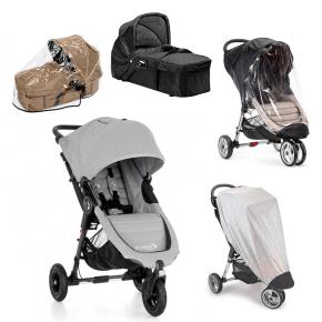 Baby Jogger City Mini GT - Slate + Kompakt Pram, Regnslag til Pram, Regnslag og Insektnet
