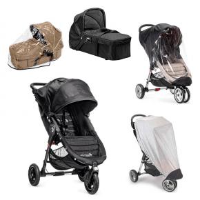 Baby Jogger City Mini GT - Sort + Kompakt Pram, Regnslag til Pram, Regnslag og Insektnet