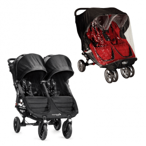 Baby Jogger City Mini GT Double - Sort + Regnslag