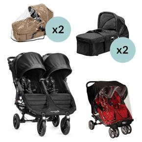 Baby Jogger City Mini GT Double - Sort + 2x Kompakt Pram, 2x Regnslag til Pram og Regnslag