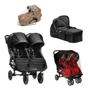 Baby Jogger City Mini GT Double - Sort + Kompakt Pram, Regnslag til Pram og Regnslag