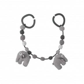 Sebra Hæklet barnevognskæde, Elefant - Grå