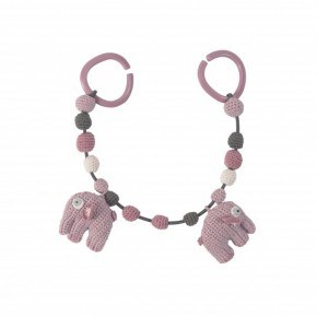 Sebra Hæklet barnevognskæde, Elefant - Vintage rosa