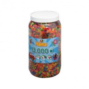 Hama maxi - Neon mix bøtte - 1400 perler