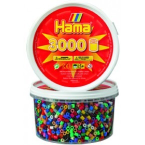 Hama midi perler bæger 3000stk 22farver mix