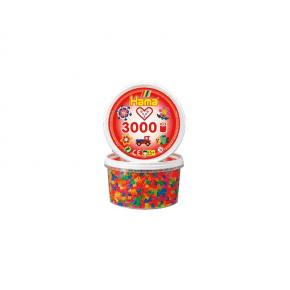 Hama midi perler bæger 3000stk neon mix