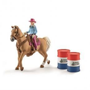 Schleich - Cowgirl, Hest, Saddel og Tønde
