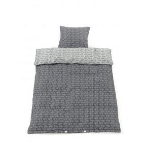 Smallstuff Juniorsengetøj med traktormotiver - Mørk grå