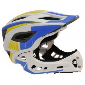 Kiddimoto Ikon Full Face hjelm Medium - hvid/blå