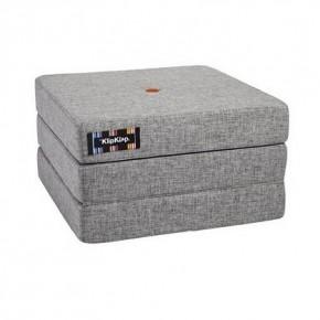By KlipKlap Madras 3 fold single - multi grå m. orange knapper