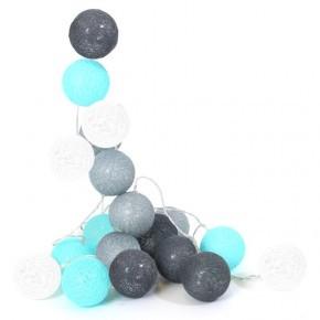Tiny Republic lyskæde med 20 kugler - blå og grå