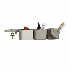 Leander opbevaringsholdere inkl. lang skinne - Cappuccino