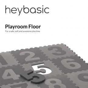 Heybasic legegulv med tal, 30x30 cm - Grå/lysegrå