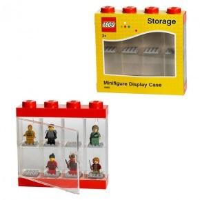 LEGO minifigur display case - Rød (plads til 8 figurer)