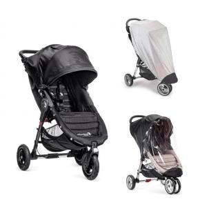 Baby Jogger City Mini GT - Sort + Regnslag og Insektnet