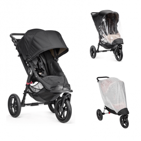Baby Jogger City Elite Single Sort + Regnslag og Insektnet