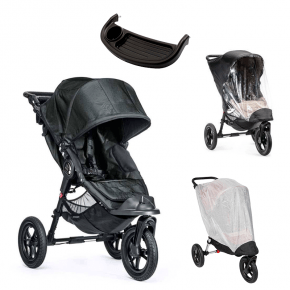 Baby Jogger City Elite - Titanium + Regnslag, Insektnet og Bakkebord