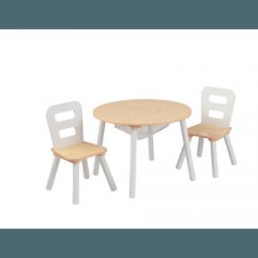 Kidkraft Rundt bord og 2 stole - Hvid/Natur