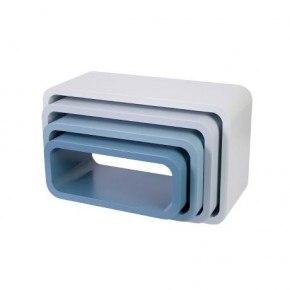 SEBRA Opbevaringsreoler, oval, 4 stk, mat, cloud blue