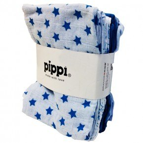 Pippi Lightblue printet 8-pak, Str. 70X70 stofble - Pippi