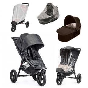 Baby Jogger City Elite - Titanium + Charcoal Denim Deluxe Pram, Regnslag til Pram, Regnslag og Insektnet