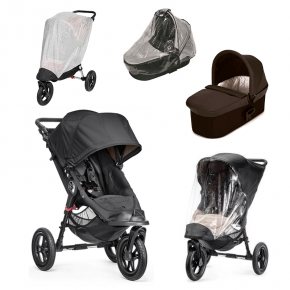 Baby Jogger City Elite - Sort + Charcoal Denim Deluxe Pram, Regnslag til Pram, Regnslag og Insektnet