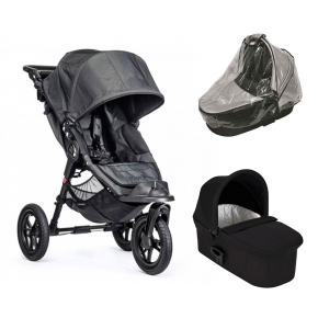 Baby Jogger City Elite - Charcoal Denim + Sort Deluxe Pram og Regnslag til Pram