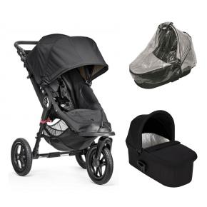 Baby Jogger City Elite Sort + Sort Deluxe Pram og Regnslag til Pram