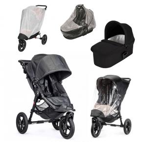 Baby Jogger City Elite - Charcoal Denim + Sort Deluxe Pram, Regnslag til Pram, Regnslag og Insektnet