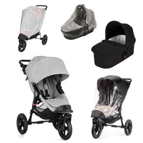 Baby Jogger City Elite - Slate + Sort Deluxe Pram, Regnslag til Pram, Regnslag og Insektnet