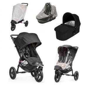 Baby Jogger City Elite Sort + Sort Deluxe Pram, Regnslag til Pram, Regnslag og Insektnet