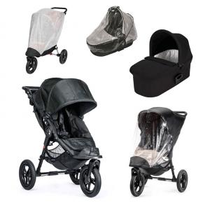 Baby Jogger City Elite - Titanium + Sort Deluxe Pram, Regnslag til Pram, Regnslag og Insektnet