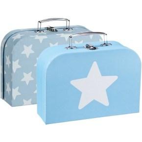 Kids Concept kuffertsæt, 2 stk. - Blå/hvid