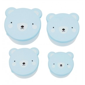 A Little Lovely Company Snack Box - Bear Blue