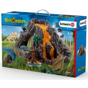 SCHLEICH Giant Volcano with T-Rex