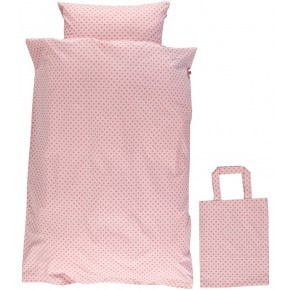 Småfolk - Baby sengetøj micro æbler - Silver Pink