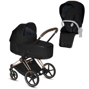 Cybex Priam PLUS carrycot + klapvogn rosegold stel - black