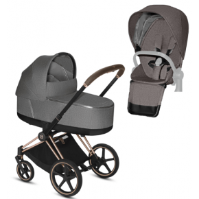 Cybex Priam PLUS carrycot + klapvogn rosegold stel - grey