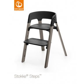 Stokke Steps Højstol - Sort/ Hazy grey