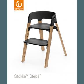 Stokke Steps Højstol - Sort / Eg natur