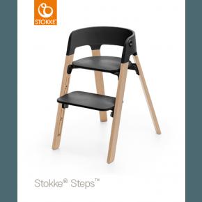 Stokke Steps Højstol - Sort / Bøg Natur