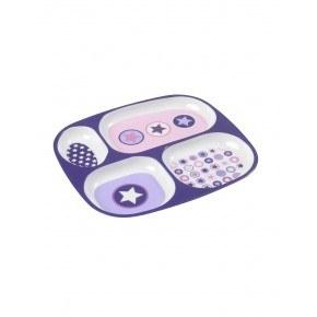 Smallstuff flad tallerken med fire rum - Lavender Circle star