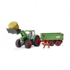 Schleich Traktor med trailer og plastfigurer
