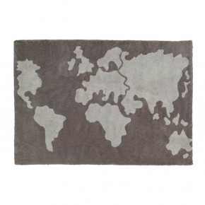 Lorena Canals tæppe m. verdenskort 140x200 cm. - brun