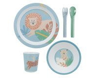Sebra, dinner set 5 pcs Wildlife, eucalyptus blue Spisetid