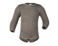Engel langærmet body i uld/silke str. 50/56 - valnød